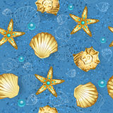 Blue seamless of gold seashells. Seamless, blue, sandy background with gold seashells and starfish Royalty Free Stock Photo