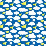 Blue seamless illustration pattern of paper airplanes with cloud. S stock illustration