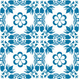 Blue seamless lace lacy pattern on white Royalty Free Stock Photo