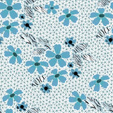 Blue seamless lacy lace pattern on white Royalty Free Stock Photo
