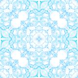 Blue seamless pattern. Artistic delicate soap bubb. Les. Lace hand drawn textile ornament. Kaleidoscope mandala lingerie print. Superb abstract watercolor royalty free stock photo