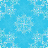 Blue seamless pattern background, Christmas and New Year greeting card, invitation with snowflake ornaments Stock Photo