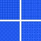 Blue seamless pattern background set. Blue abstract seamless pattern design background set Stock Photo