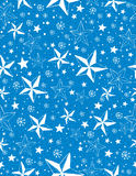 Blue seamless pattern background with snowflakes and stars royalty free stock image