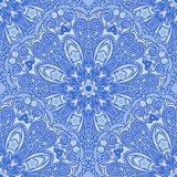 Blue seamless pattern of circular ornaments. Floral and berry background in the style of Chinese painting on porcelain. Stock Photos