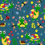 Blue seamless pattern with colorful turtles - vector illustration, eps stock illustration