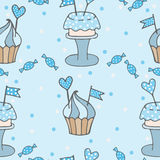 Blue seamless pattern with cupcake and cake with heart and flag. Vector illustration Stock Image