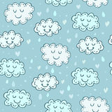 Blue seamless pattern with cute clouds. Childrens shiny Royalty Free Stock Photos