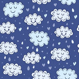 Blue seamless pattern with cute clouds.  Stock Photo