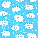 Blue seamless pattern with cute clouds. Royalty Free Stock Photography