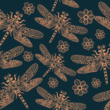 Blue seamless pattern dragonflies for kids room, design, posters, wallpapers, fabric, textile, wrapping paper, curtains. Cartoon insects character Eps10 Stock Photo