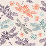 Blue seamless pattern dragonflies for kids room, design, posters, wallpapers, fabric, textile, wrapping paper, curtains. Cartoon insects character Eps10 Royalty Free Stock Image