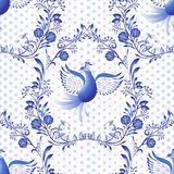 Blue seamless pattern. Floral background with birds and dots in the style of national porcelain painting. Vector illustration royalty free illustration
