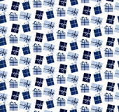 Blue seamless pattern of gift boxes. Vector illustration Royalty Free Stock Photography