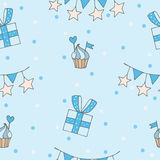 Blue seamless pattern with gift, cake heart and flag. Vector illustration Stock Photo