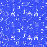 Blue seamless pattern-medical items Royalty Free Stock Image