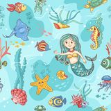 Blue seamless pattern with mermaid Royalty Free Stock Photo