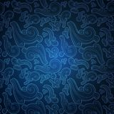 Blue seamless pattern with ornate doodle elements. Royalty Free Stock Images