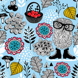 Blue seamless pattern with owl in eyeglasses. Hipster image in vector. Blue seamless pattern with owl in eyeglasses vector illustration