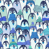 Blue Seamless Pattern With Penguins. Stock Images