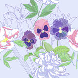 Blue seamless pattern  with peonies and pansy Royalty Free Stock Photos