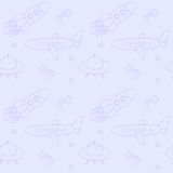Blue seamless pattern with planes, rockets Stock Images