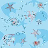 Blue seamless pattern with sea life Royalty Free Stock Photo