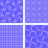 Blue seamless pattern set. Blue white seamless pattern background set Royalty Free Stock Photo