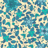 Blue seamless pattern of shrub with flowers and Royalty Free Stock Photo