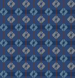 Blue, seamless pattern, squares, stripes, geometric, multi-color. Geometric pattern of gray and blue squares on a dark blue striped background. For prints and Royalty Free Stock Photos