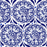 Blue seamless pattern in the style of Russian national pattern gzhel. Circular pattern mandala of flowers on a white background. Royalty Free Stock Photos