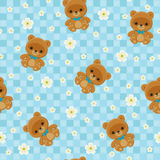 Blue seamless pattern with teddy bear Stock Photo
