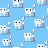 Blue seamless pattern with teeth characters, kids dental care Royalty Free Stock Images