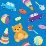 Blue seamless pattern with toys Stock Images