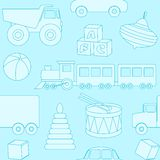 Blue seamless pattern with toys silhouettes Stock Photo