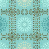 Blue seamless pattern for wall. Wallpaper fabric textile design with mandalas and decorative vintage Stock Photography