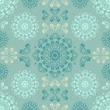 Blue seamless pattern for wall. Wallpaper fabric textile design with mandalas and decorative vintage Royalty Free Stock Image