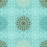Blue seamless pattern for wall. Wallpaper fabric textile design with mandalas  Royalty Free Stock Photography