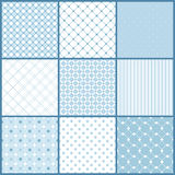 Blue seamless patterns set Stock Images