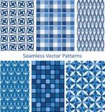 Blue seamless patterns Stock Photo