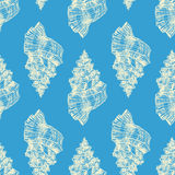 Blue seamless sketch seashells Royalty Free Stock Images
