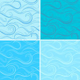 Blue seamless texture with waves. Four blue seamless texture with waves,  illustration Stock Photography