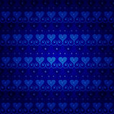 Blue seamless vector pattern. With hearts and beads Royalty Free Stock Photos