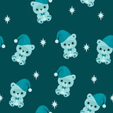 Blue seamless wallpaper with teddy bear. Bed time Stock Images