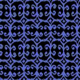 Blue seamless watercolour ikat pattern on black bacground. For textile, wrapping, craft Stock Photo