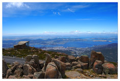 Blue seascape. Seascape view from mt wellington, Tasmania Stock Photos