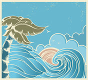 Blue seascape with big wave and sun on old poster Stock Photo