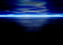 Blue Seascape Horizon With Clouds Royalty Free Stock Photos