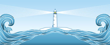 Blue seascape horizon. Vector illustration Royalty Free Stock Images