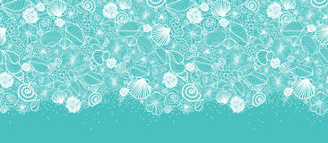 Blue seashells line art horizontal seamless Royalty Free Stock Photography